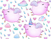 Cute seamless   pattern, funny piglets.