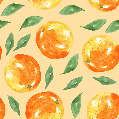 Cute seamless pattern of orange fruit and leaves on peach colored background. Watercolor hand drawn illustration for wallpaper, print, cover, textile, wrapping, fabric. Summer bright design.