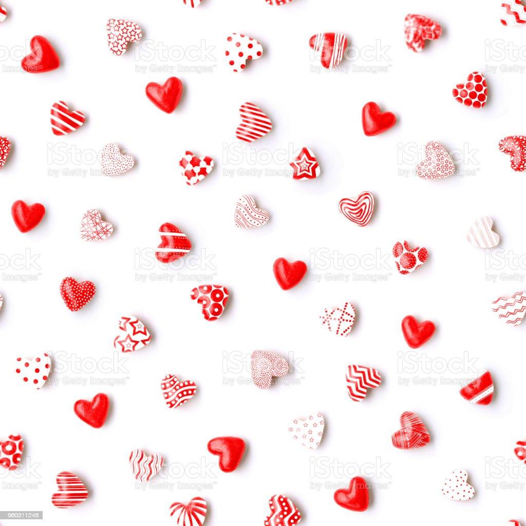 Sevimli Küçük Yuvarlak 3d Kırmızı Kalpler çeşitli Beyaz çizilmiş