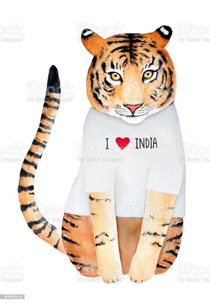 Ilustracion De Linda Sonriente Personaje Tigre Vestido Con Camiseta