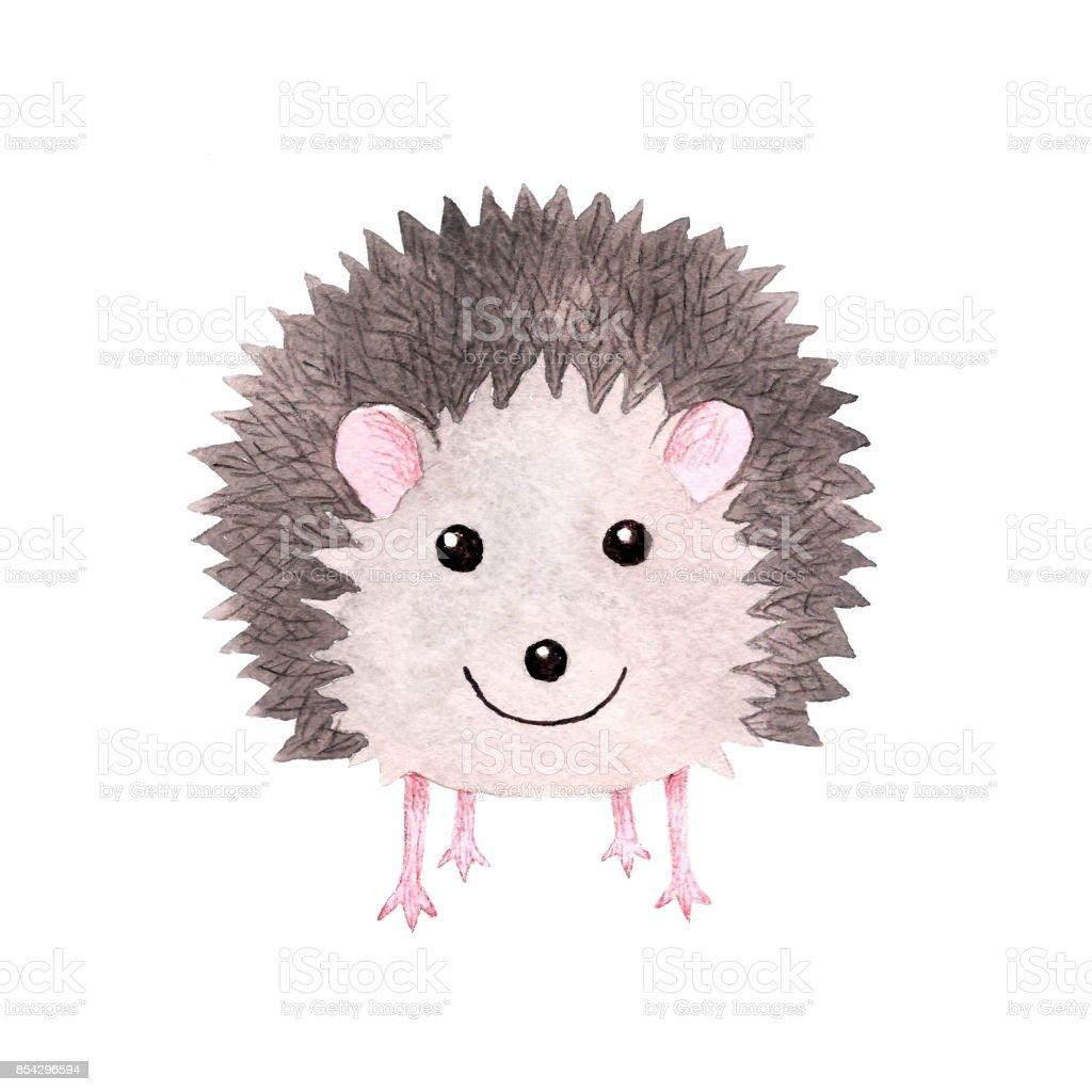 Cute smiling watercolor hedgehog vector art illustration