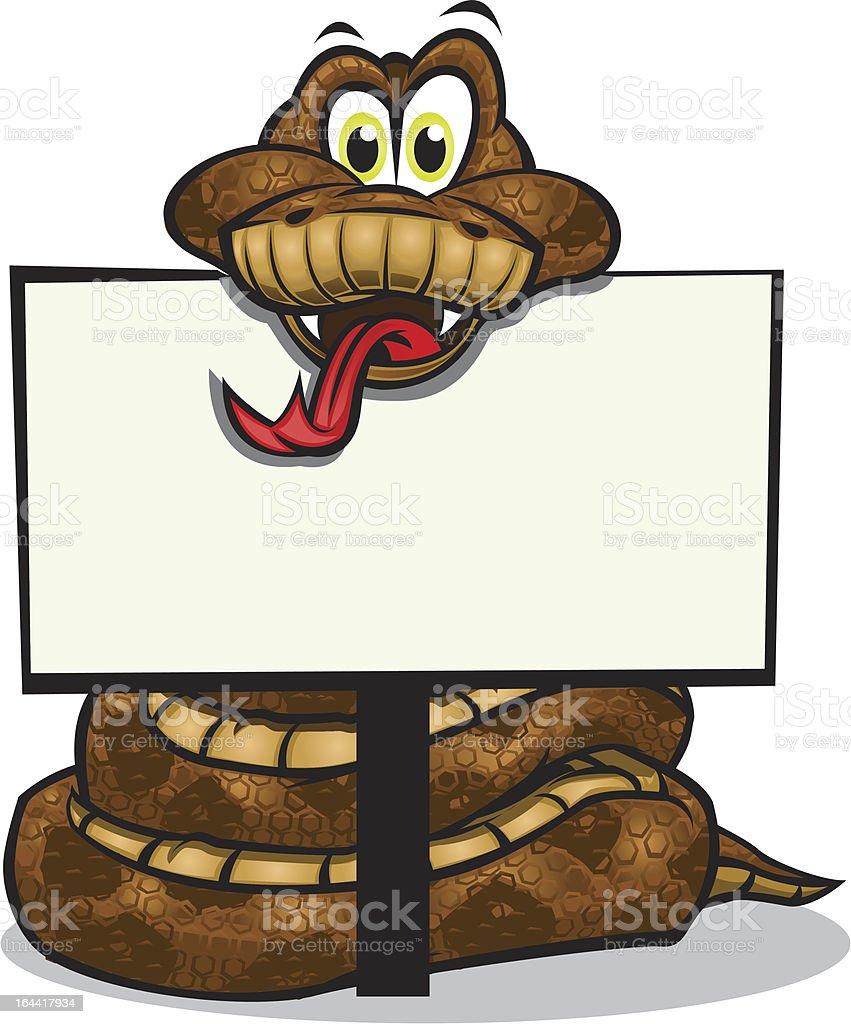 Cute Snake holding sign vector art illustration