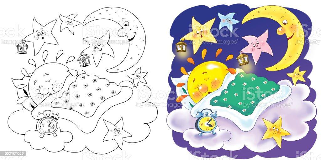 Cute Güneş Gökyüzünde Uyku Ay Ve Yıldız Ninni şarkı çizim çocuklar