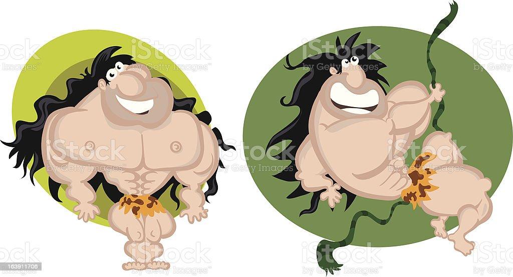 Cute Tarzan vektör sanat illüstrasyonu