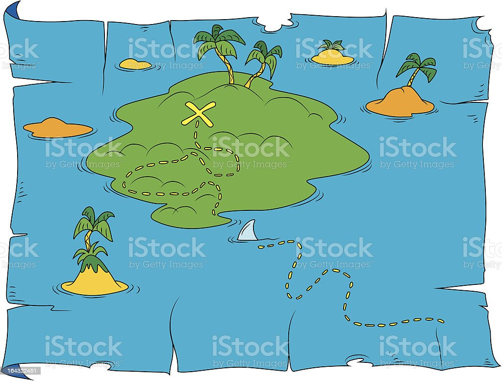 Linda mapa del tesoro - ilustración de arte vectorial