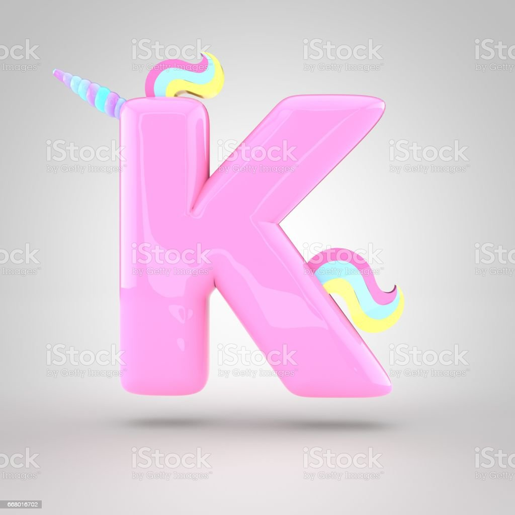 Cute Unicorn Pink Letter K Uppercase Stock Vector Art & More Images ...