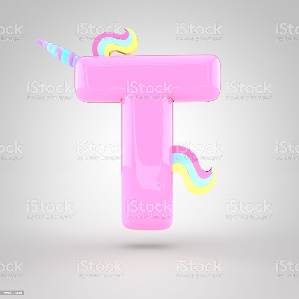 Cute Unicorn Pink Letter T Uppercase Stock Vector Art & More Images ...