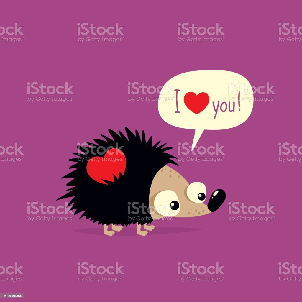Cute valentines day card with cartoon hedgehog saying i love you cute valentines day card with cartoon hedgehog saying i love you royalty free cute valentines voltagebd Image collections