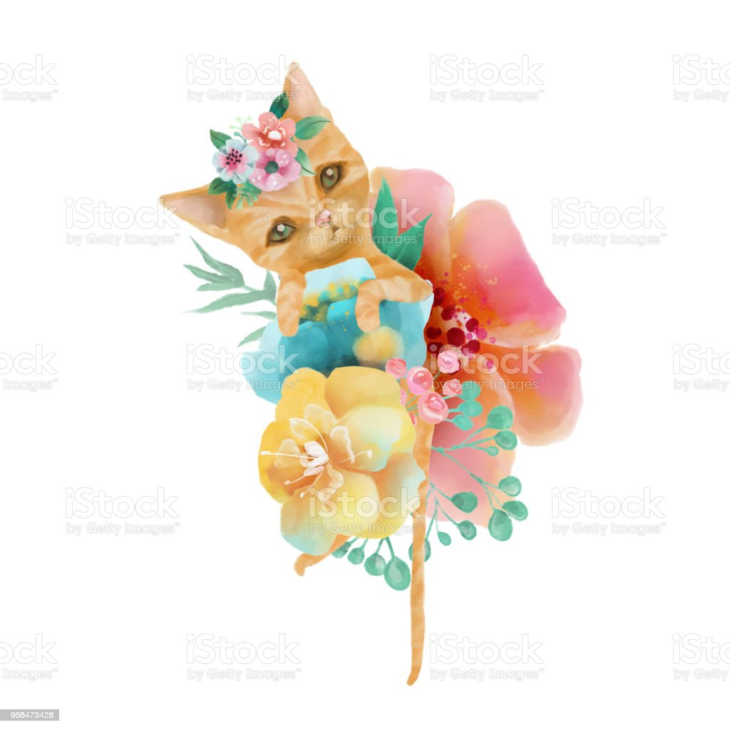 Cute Watercolor Baby Animal Cat With Floral Wreath Tied Bow And