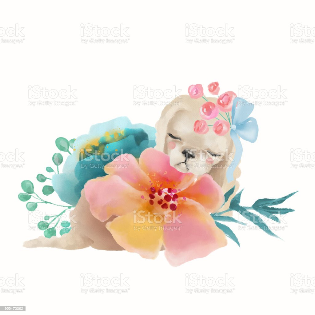 Cute Watercolor Baby Animal Puppy Spaniel With Floral Wreath Tied ...