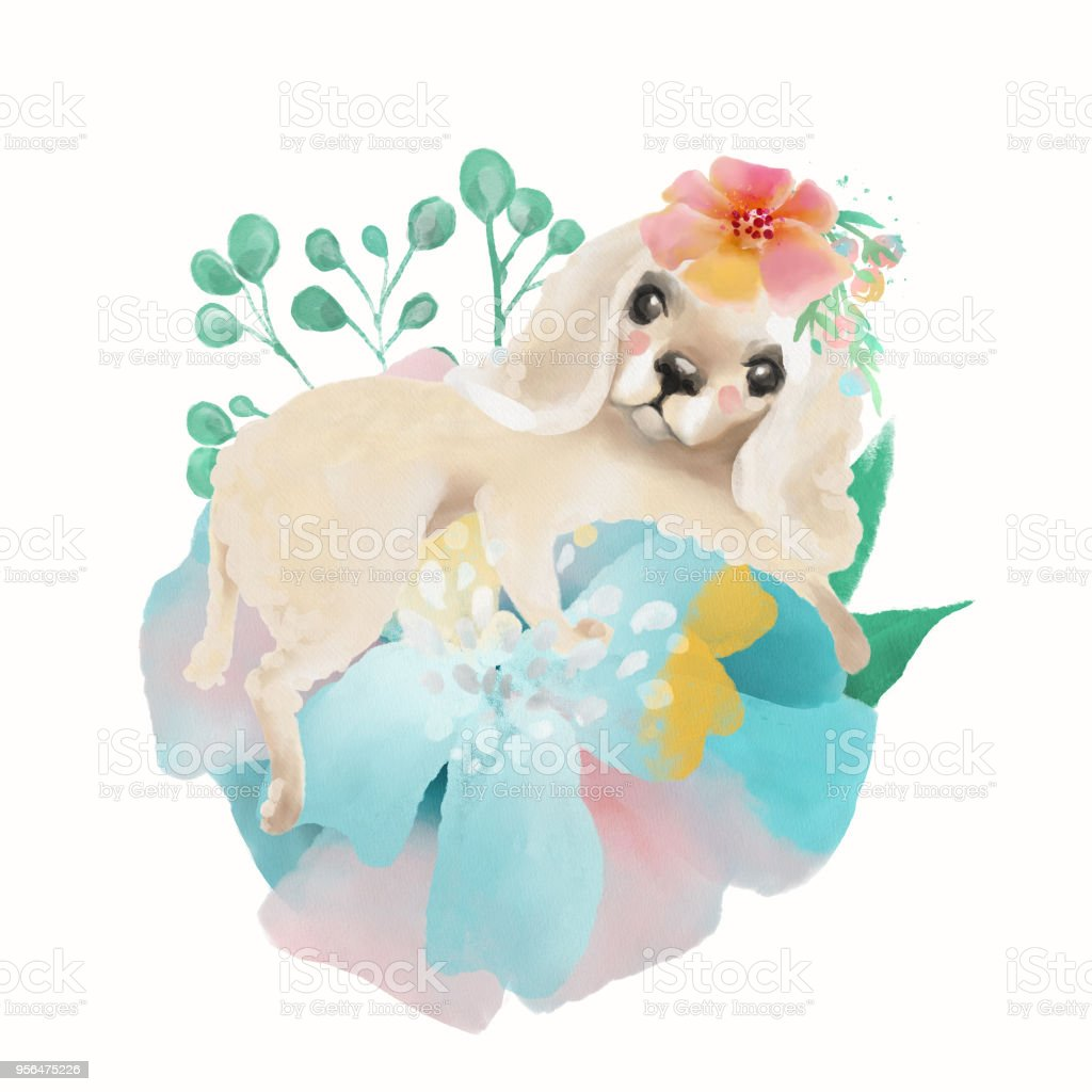 Cute Watercolor Baby Animal Puppy Spaniel With Floral Wreath Tied