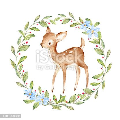 Cute Watercolor Baby Deer surrounded by wild forest plants wreath. Full Profile Baby Deer over white. Isolated. Nursery print of Forest Animals for baby girl or boy