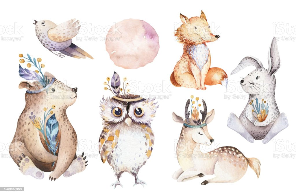 Cute watercolor bohemian baby cartoon rabbit and bear animal for kindergarten, woodland deer, fox and owl nursery isolated bunny forest illustration for children. Bunnies animals. royalty-free cute watercolor bohemian baby cartoon rabbit and bear animal for kindergarten woodland deer fox and owl nursery isolated bunny forest illustration for children bunnies animals stock illustration - download image now