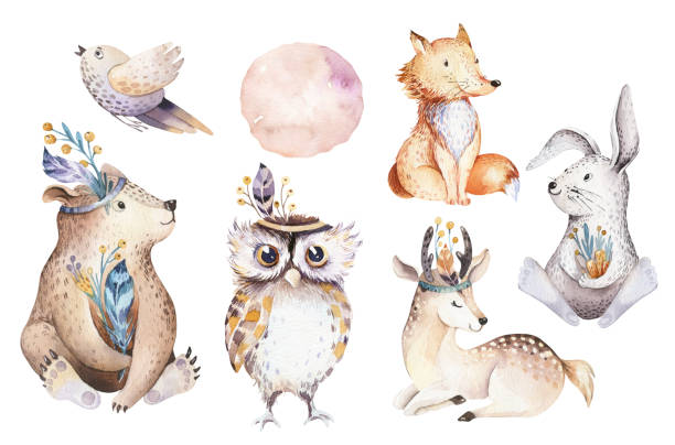 cute watercolor bohemian baby cartoon rabbit and bear animal for kindergarten, woodland deer, fox and owl nursery isolated bunny forest illustration for children. bunnies animals. - baby animals stock illustrations