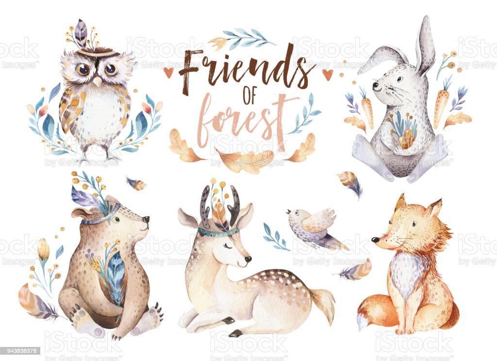 Ilustración de Lindo Bebé Bohemio Acuarela Dibujos Animados Conejo Y ...