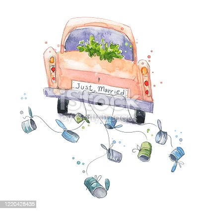 istock Cute watercolor car with just married sign on a wedding travel 1220428435
