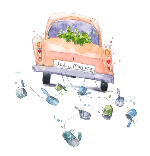 bildbanksillustrationer, clip art samt tecknat material och ikoner med söt akvarell bil med bara gift skylt på ett bröllop resa - nygift