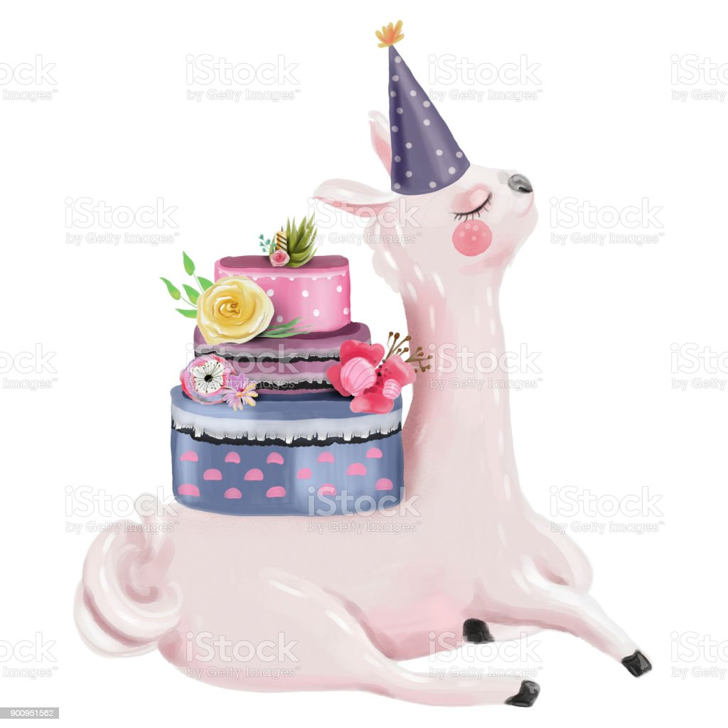 Cute Watercolor Dreaming Llama With Beautiful Birthday Cake Stock