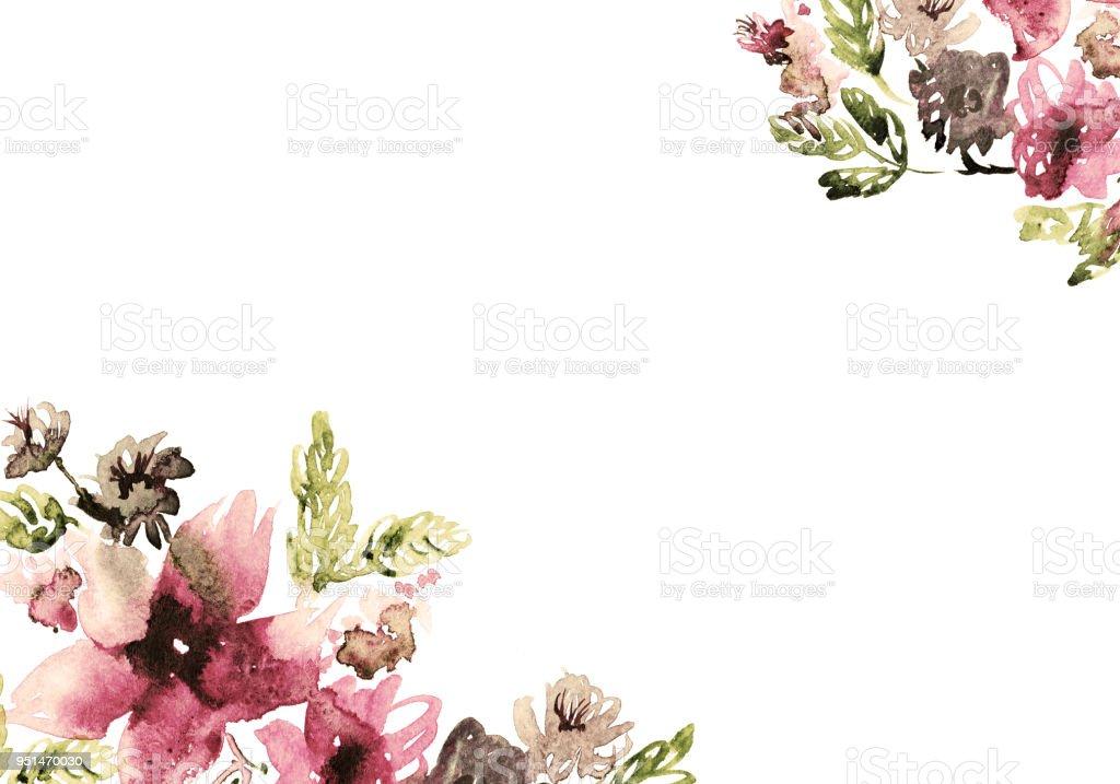 cute watercolor flower background invitation wedding card birthday