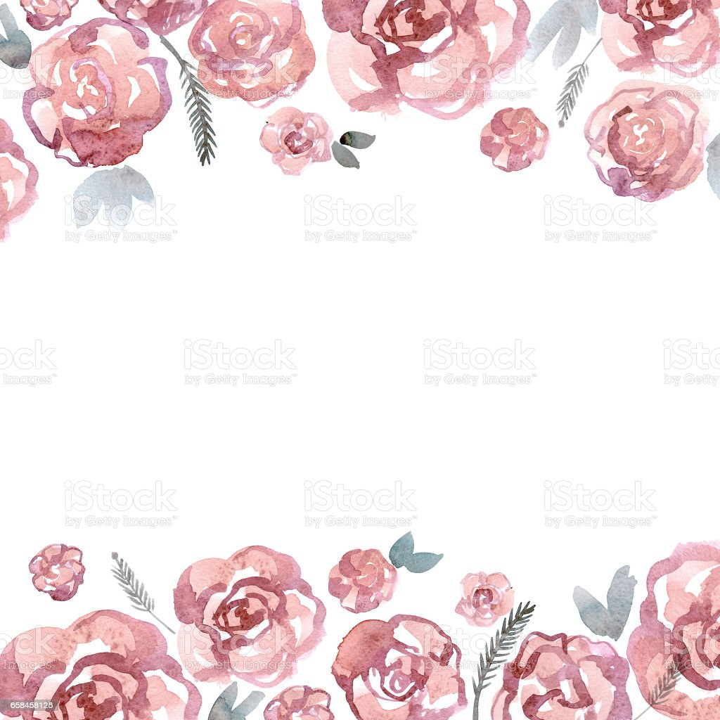 Cute Watercolor Flower Border With Pink Roses Royalty Free