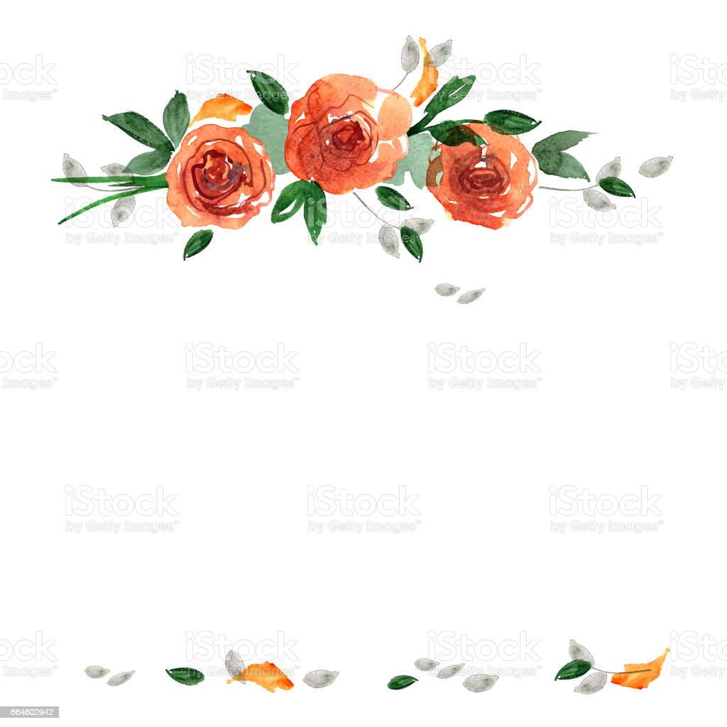 Ilustración de Marco De Flor Linda Acuarela Fondo Con Rosas Naranjas ...