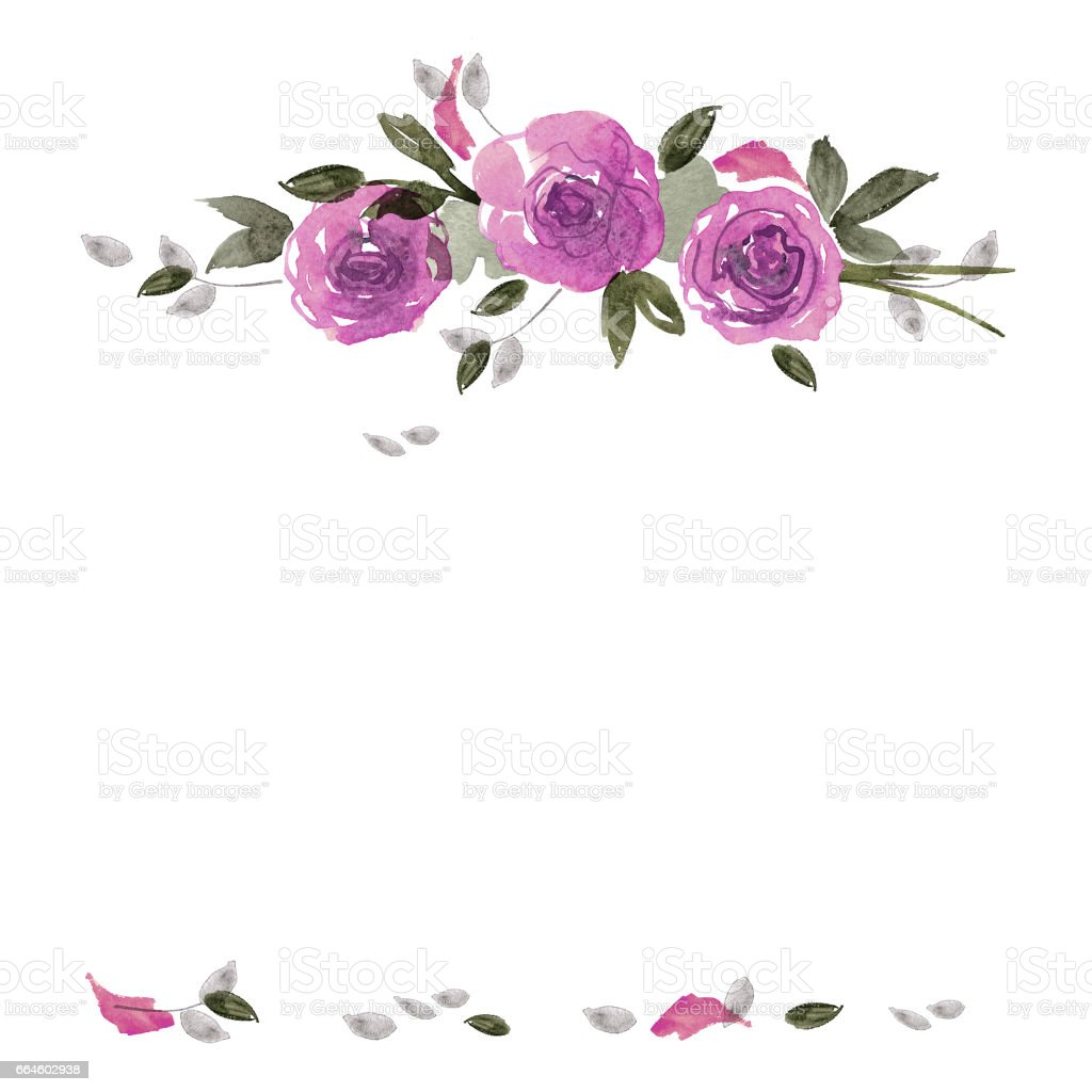 Cute Watercolor Flower Frame Background With Purple Roses Royalty Free