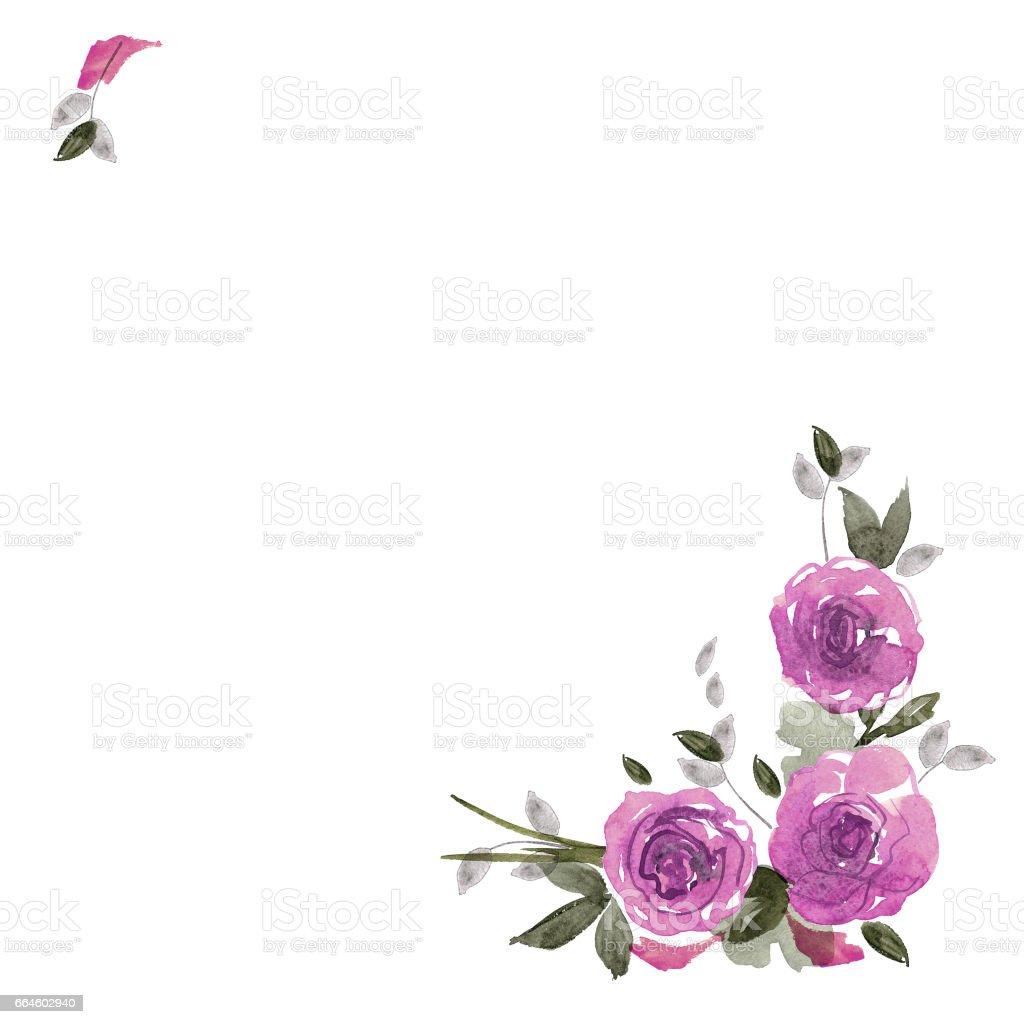 Ilustración de Marco De Flor Linda Acuarela Fondo Con Rosas De Color ...
