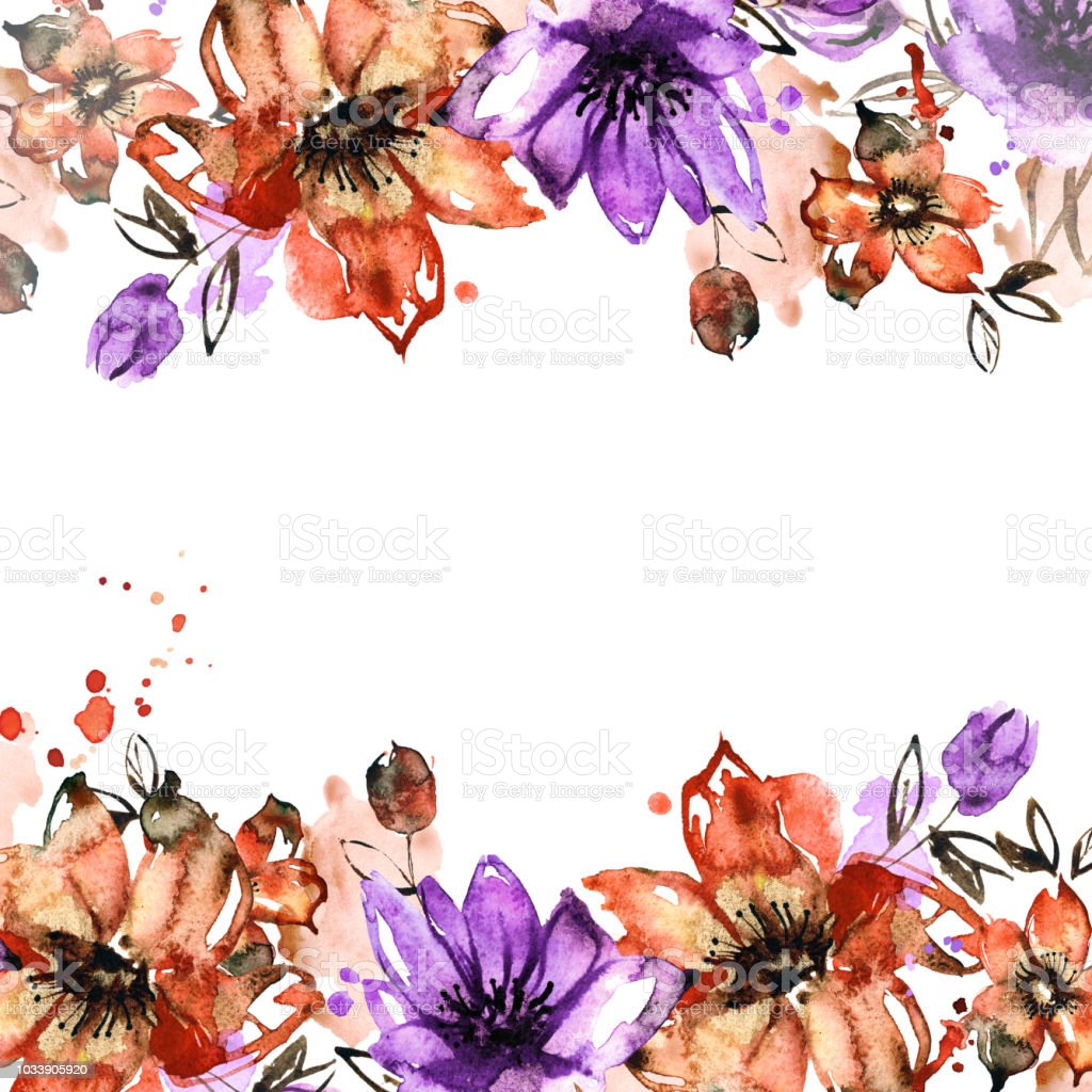 Watercolor flower frame. Hand painted floral background .