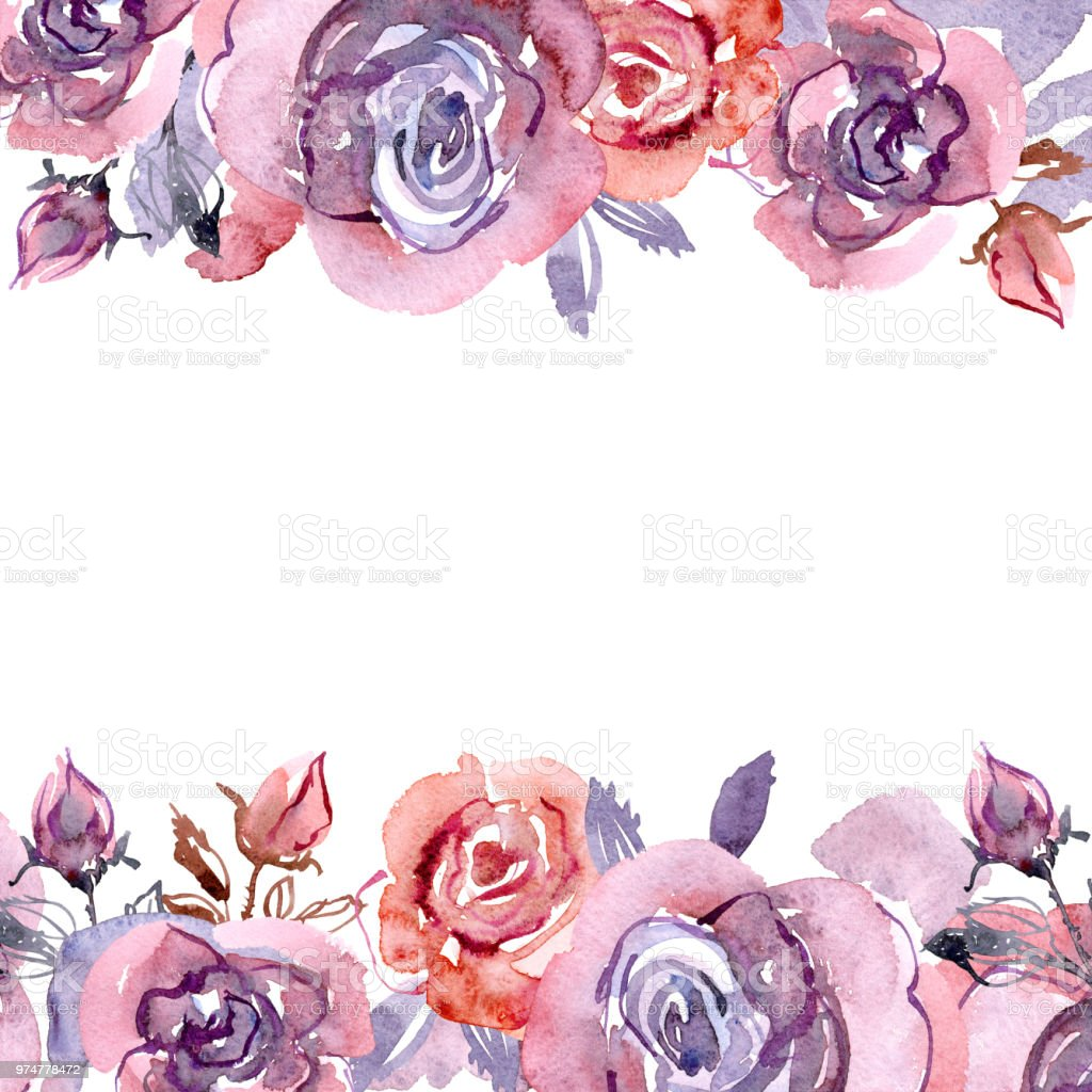 Cute Watercolor Flower Frame Hand Painted Floral Background With