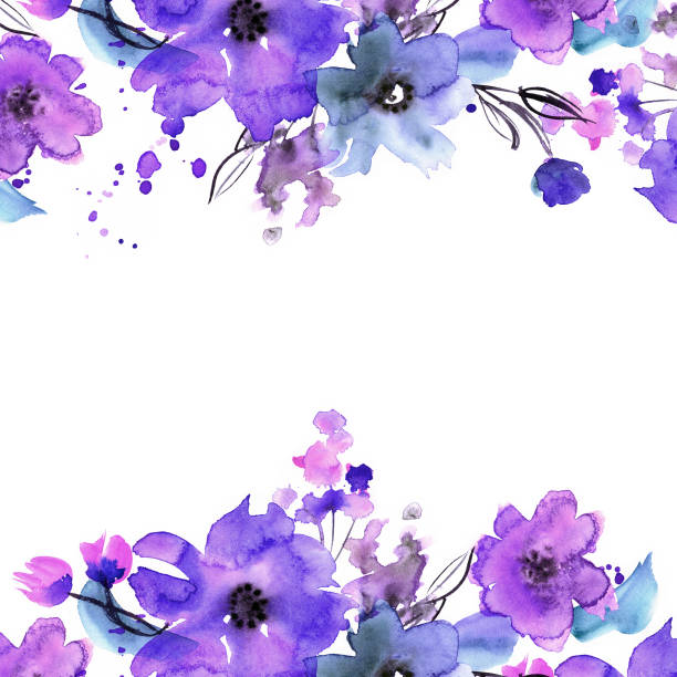 귀여운 수채화 손으로 꽃 배경 - 보라색 stock illustrations