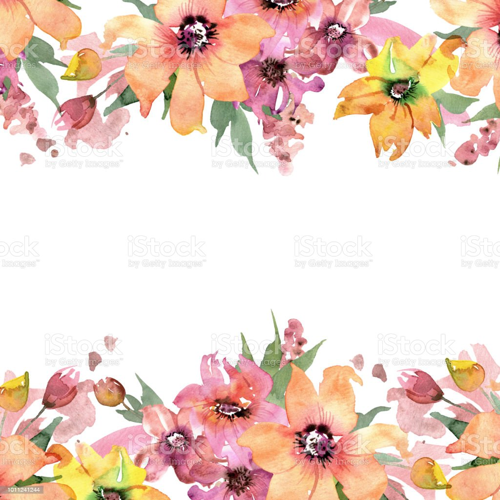 Cute Watercolor Hand Painted Background With Flowers Invitation