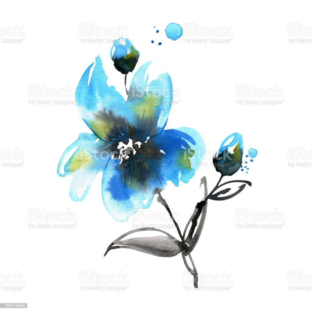 Cute Watercolor Hand Painted Blue Flower Invitation Wedding Card Birthday