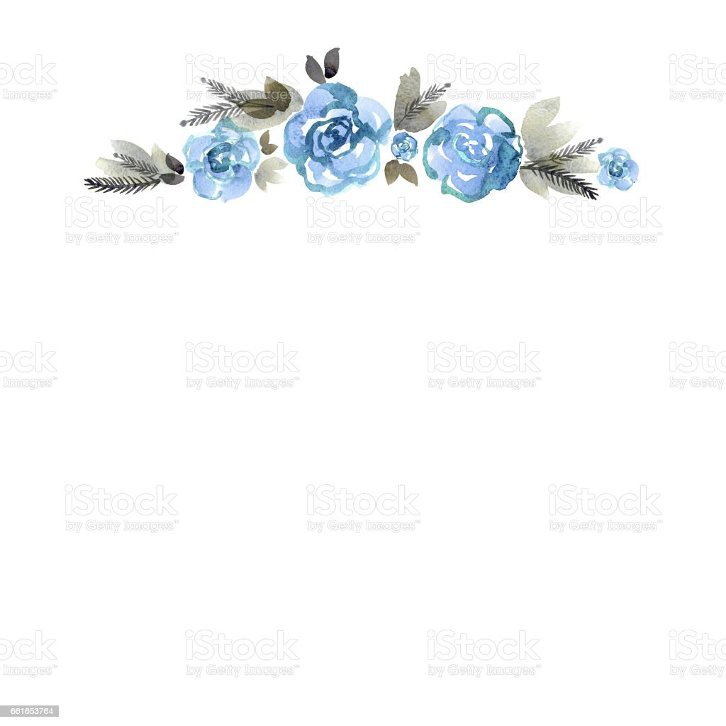 Cute Watercolor Hand Painted Border With Blue Roses