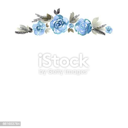 Cute Watercolor Hand Painted Border With Blue Roses Stock
