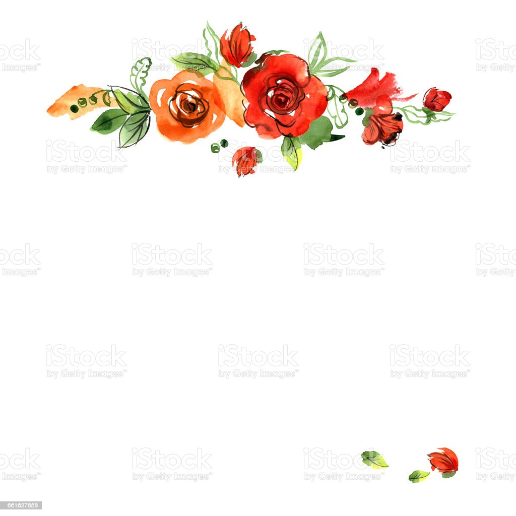 Cute Watercolor Hand Painted Border With Orange Roses Royalty Free