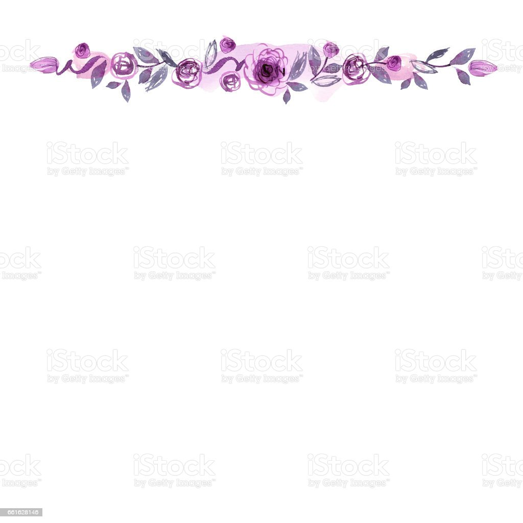 Cute Watercolor Hand Painted Flower Border Background With Purple Roses Royalty Free