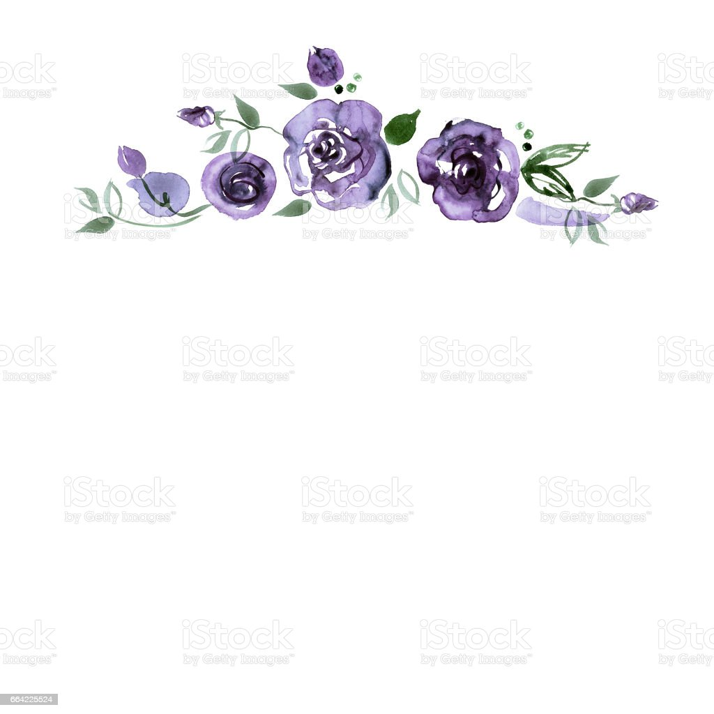 Cute Watercolor Hand Painted Flower Border With Roses Royalty Free