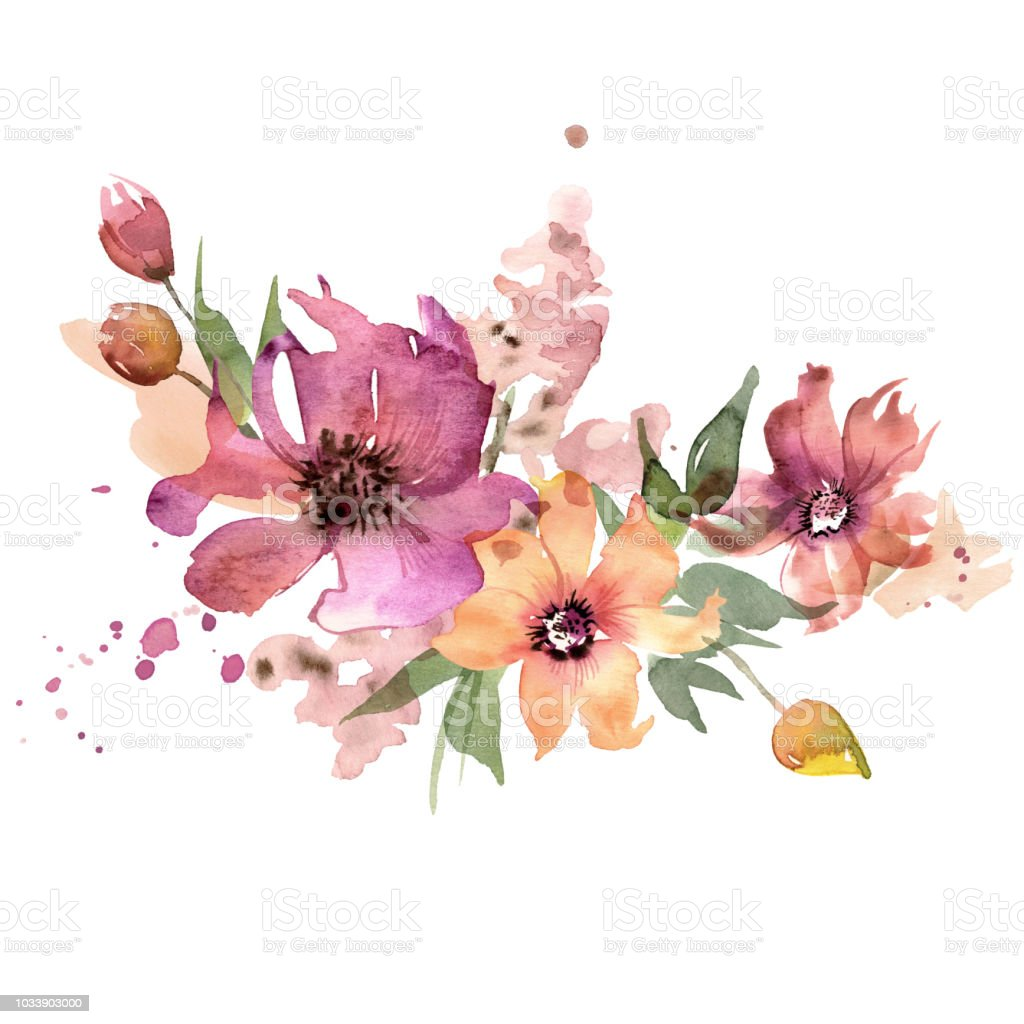 Cute Watercolor Hand Painted Flowers Invitation Wedding Card Birthday Card Stock Illustration Download Image Now