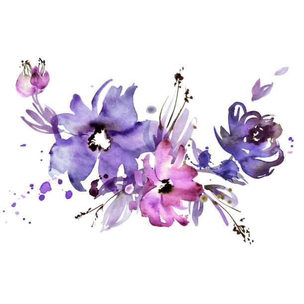 Cute watercolor hand painted purple flowers. Invitation. Wedding card. Birthday card watercolor hand painted purple flowers. Invitation. Wedding card. Birthday card violet flower stock illustrations