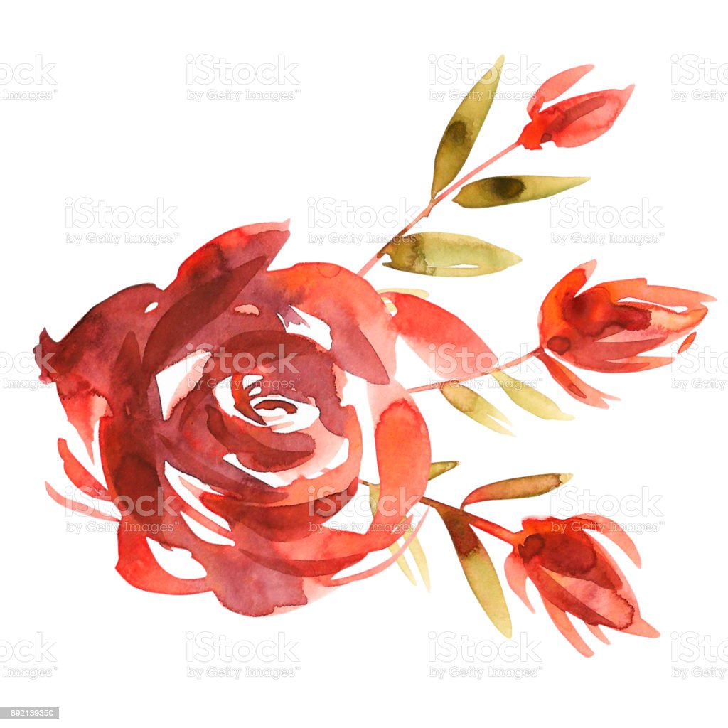 Cute Watercolor Hand Painted Roses Flowers Invitation Wedding Card
