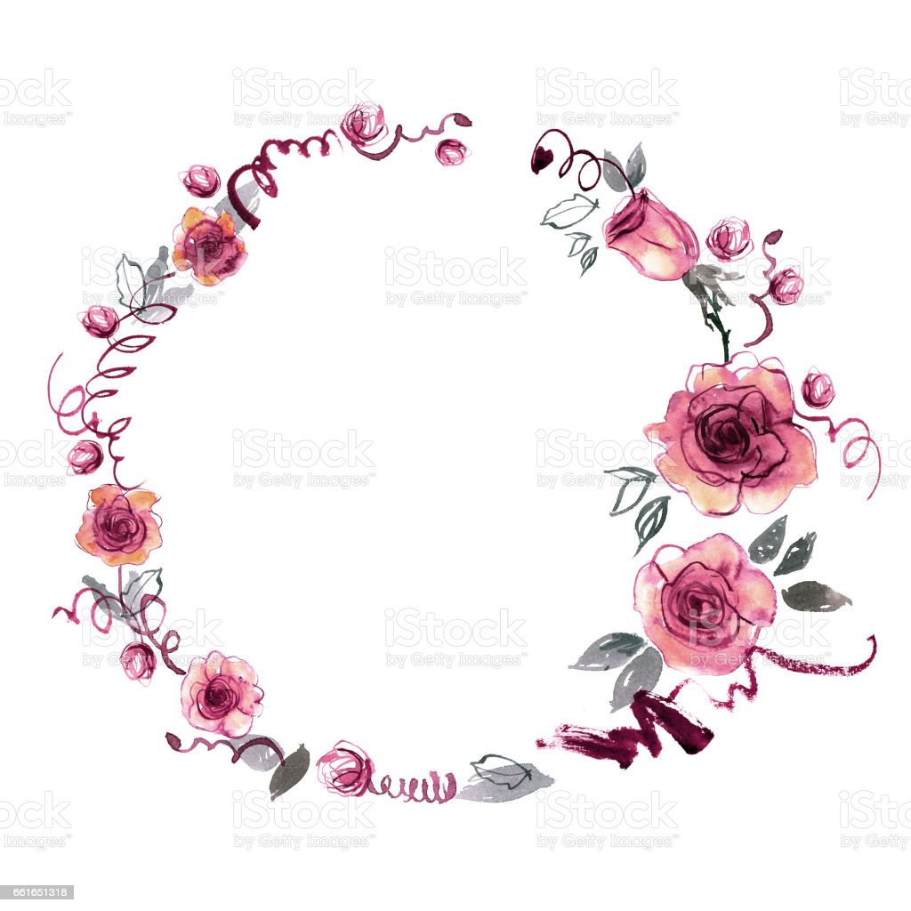Cute Watercolor Hand Painted Round Frame With Pink Roses