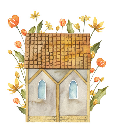 Cute watercolor house with flowers around. Garden clip art isolated on white. Hand painted watercolor illustration. Small tiny house.