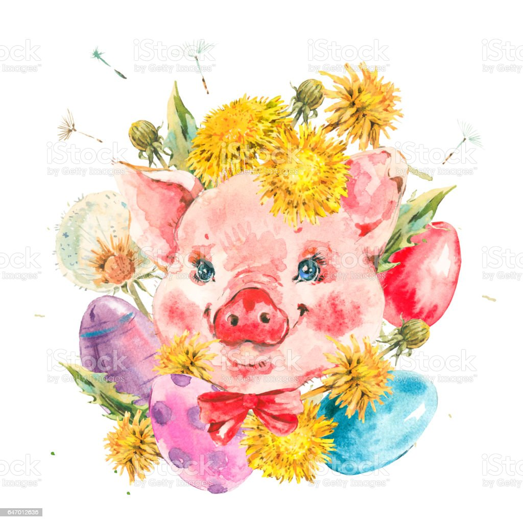 Cute Watercolor Pig With Spring Flowers Stock Vector Art More