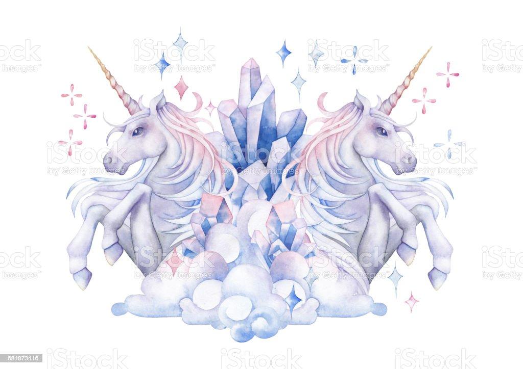 Cute watercolor unicorn vector art illustration