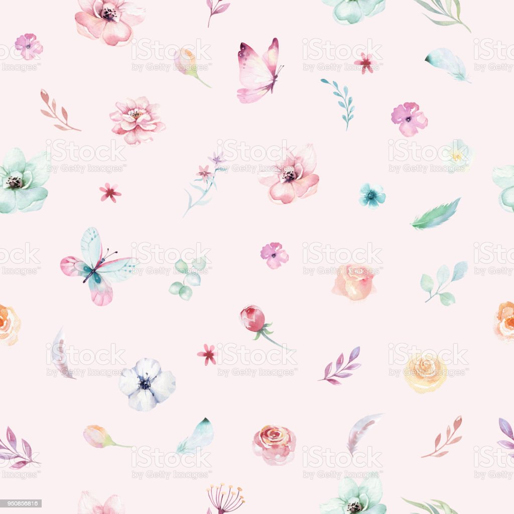 Cute Watercolor Unicorn Seamless Pattern With Flowers Nursery Magic