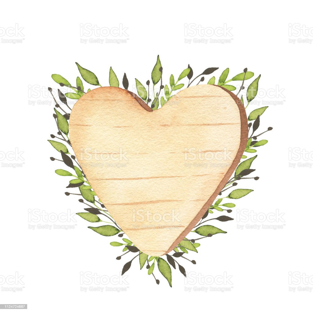 Cute Wooden Heart Clipart With Green Leaves Rustic ...