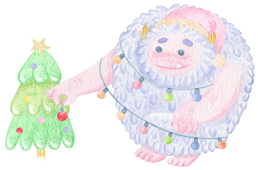 Cute yeti character decorating Christmas Tree with Christmas lights. Ho ho ho. Winter cartoon yeti watercolor print. New Year print on t-shirt or poster. Good monster.