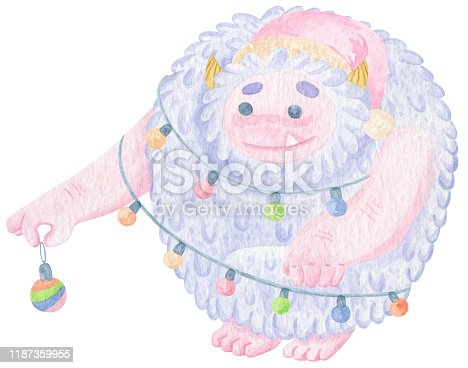 Cute yeti character with Christmas Toy and Christmas lights. Ho ho ho. Winter cartoon yeti watercolor print. New Year print on t-shirt or poster. Good monster.
