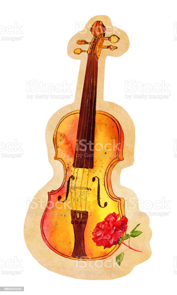 cutout of watercolour violin and rose drawing on old paper stock