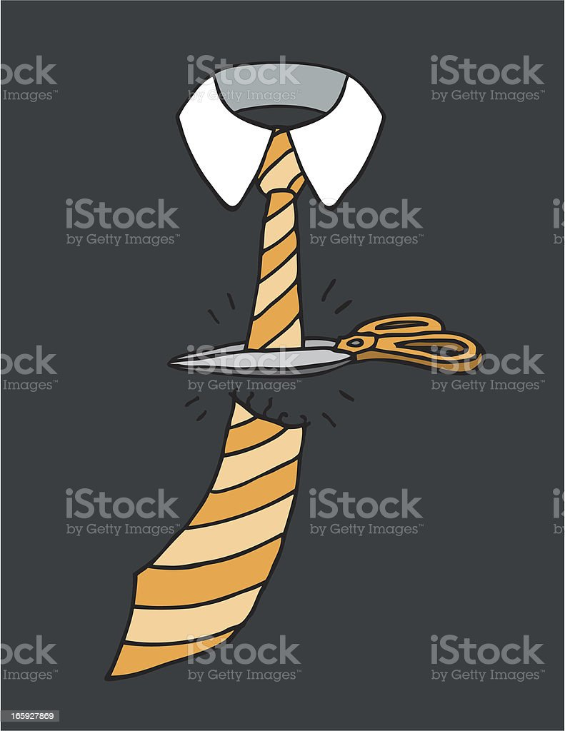 Cutting a tie / End of business royalty-free stock vector art